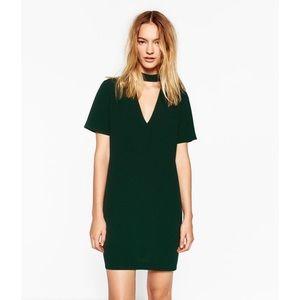 Zara Green Chocker Collar Mini Shift Dress Medium